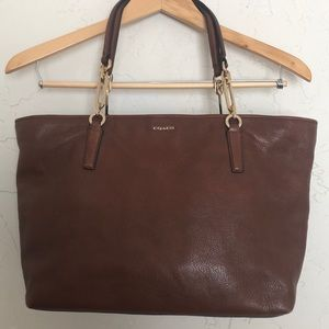 Coach Brown Pebbled Leather City Zip Tote
